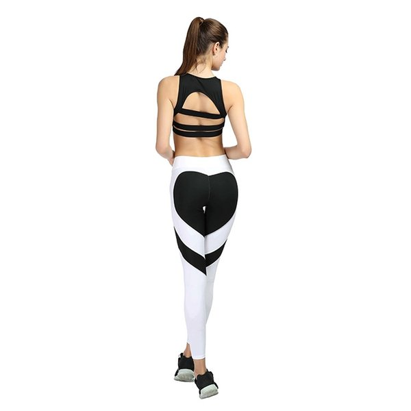 Stitching Heart Shape Yoga Pants Solid Sport Leggings Women Sportwear Training Running Pants Tights Elastic Women Gym Fitness #545729