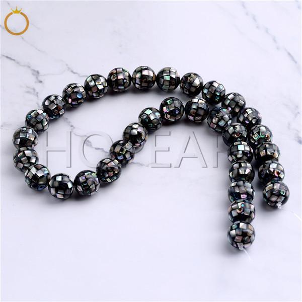 top popular HOPEARL Jewelry Abalone Shell Beads Natural Paua Handmade Mosaic Round Loose Beads Craft Strand DIY Making 12mm 2021