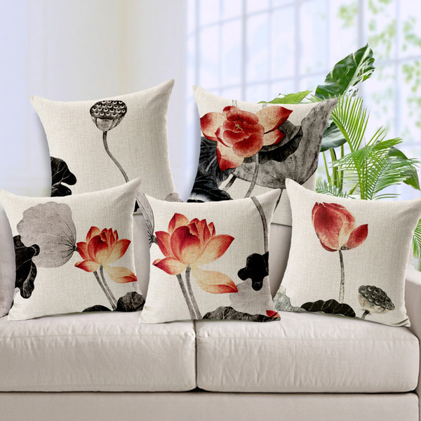 Lotus Flower Leaf Ink Painting Cushion Cover Chinese Culture Sofa Pillows Covers Thick Linen Cotton Pillow Case Chair Decoration