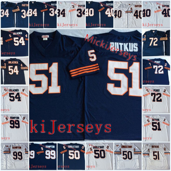 huge discount b4e00 f3ad2 2019 Mens #34 Walter Payton Vintage Football Jersey Gale Sayer Dick Butkus  William Perry Brian Urlacher Dan Hampton Mike Singletary Jersey S 3XL From  ...