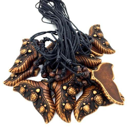 Wholesale 12 pcs Cool Ethnic Tribal Imitation Yak Bone Shark/Whale Tail Surfing Turtle Pendant Necklace Luckty Gift MN545