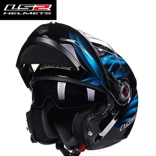 freies Verschiffen LS2 FF370 Männer schlagen herauf Doppelschild des Motorradsturzhelms mit innerer sonniger Linse modulare moto, die Helme laufen, ECE europa homologated