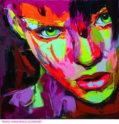Pintados à mão faca de paleta pintura Retrato da faca de Paleta Françoise Nielly Rosto Abstrata pintura a óleo Impasto figura na lona Decoração FN95