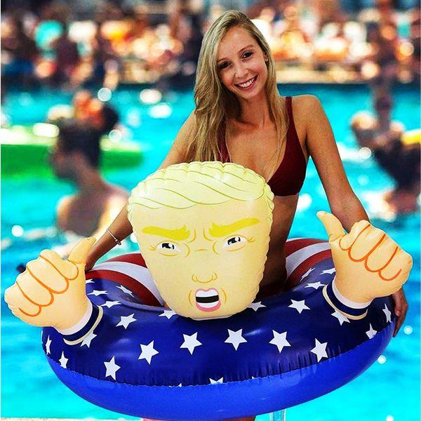 Präsident Trump Swim Ring Aufblasbare Cartoon Schwimmt 110 cm Riesen Verdicken Sommerspaß Spielzeug Strand Spielen Wasser Float Seat Amerikanische Flagge A32004