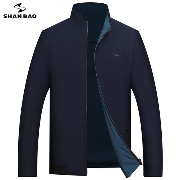 SHANBAO high quality jacket front and back can wear 2019 spring new style thin section men's business casual embroidery jacket