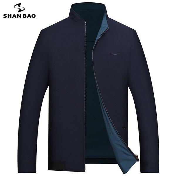 SHANBAO jaqueta de alta qualidade frente e verso pode usar 2019 primavera novo estilo seção fina dos homens de negócios casuais jaqueta bordada