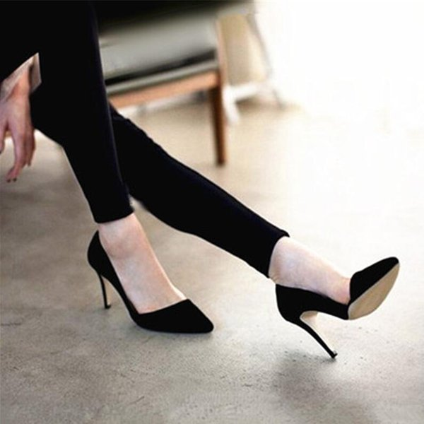 Free shipping 2019 Spring Korean New Women pumps flock pointed toes office lady casual shoes High Heels Black blue beige 9cm heel