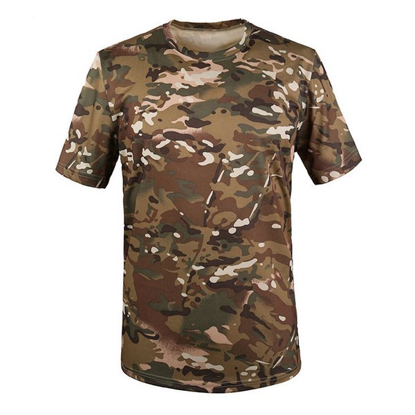 New Outdoor Hunting T-shirt Men Breathable Army Tactical Combat T Shirt Dry Sport Camo Camp Tees-CP Green