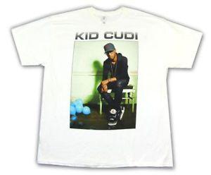 Maglietta bianca Kid Cudi Blue Balloons Pic Image Novità Merch ufficiale