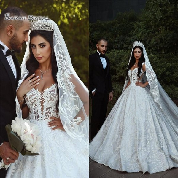 best selling 2019 Ball Gown Wedding Dresses Sheer Straps Illusion Bodice Appliques Sexy Backless Bridal Dresses Cathedral Train
