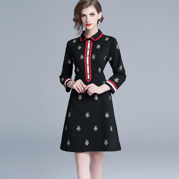 Atacado queda Primavera abelhas manga comprida lapela pescoço preto com painéis bordados Milan Runway Vestido Office Lady A-Line Plus Size Vestidos