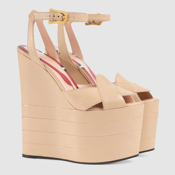 Hot Sale-Leather Platform Gladiator Sandals Women T-strap High Heels Pumps Metallic Snake Print Wedges Waterproof Dress Shoes Espadrilles