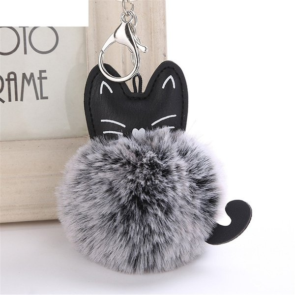 OTOKY Hot Sale 1pc 8CM Cute Cat Keychain Pendant Women Key Ring Holder Pompoms Key Chains For Gift Dropshipping Mar16 C19011001