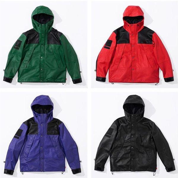 best selling 18FW Box Logo PU Leather Mountain Parka Jacket Windproof Waterproof Outdoor Jacket Coat Fashion Street Outerwear S-XL HFYMJK152