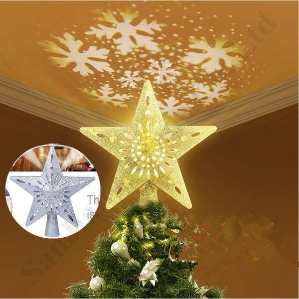 A forma di fiocco di neve stella Flash 3D LED lampada di proiezione Nevicate Muticolor Rotating proiettori di luce 2020 della festa di Natale della decorazione di favore A112002