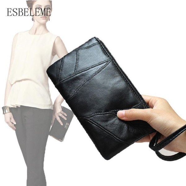 Sheepskin Women Day Clutches For Female Long Wallet Genuine Leather Black Handbags Lady Coin Purse S M L Thin Waist Bags HH011