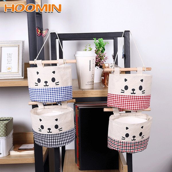 Wall Hanging Storage Bags Organizer Pocket Wardrobe Hanging Bag For Cosmetics Containers Cartoon Cat Cotton