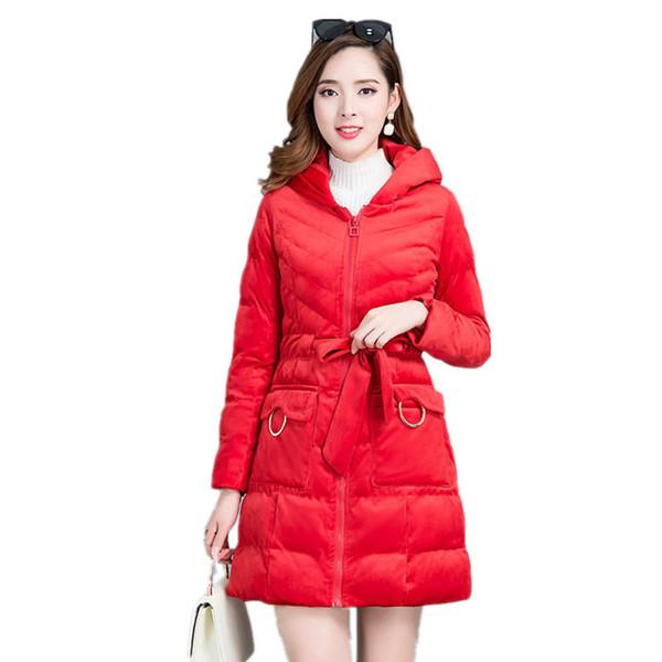 Velvet Warm Thicker Down Cotton Jacket Women Parka Winter Coat Hooded Slim Plus Size Jacket Elegant Outerwear Ladies Coats
