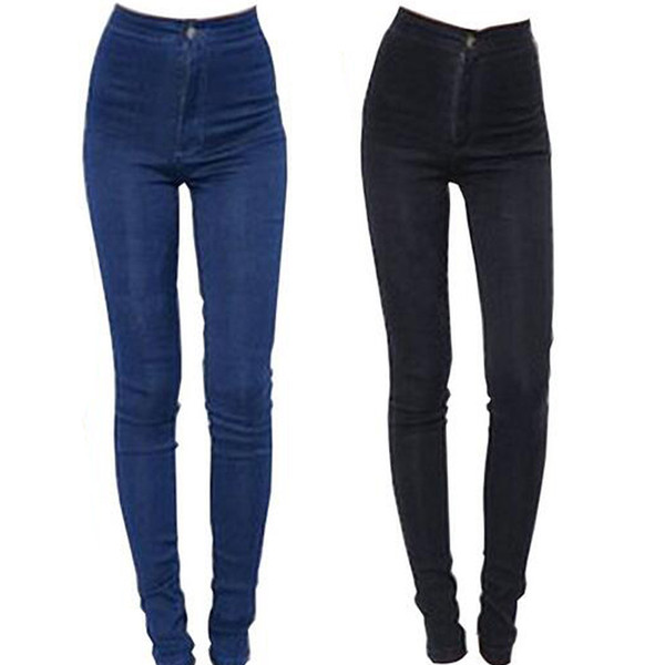 2018 New Fashion Women Pencil High Waist Sexy Slim Elastic Skinny Pants Trousers Fit Lady Jeans Plus Size C19041201