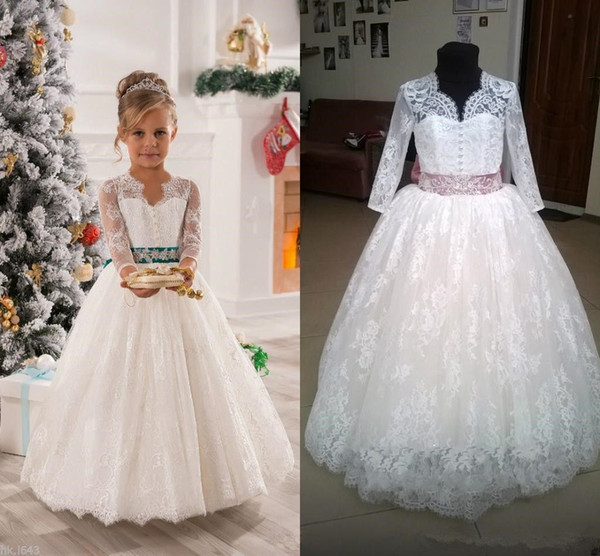 White/Ivory Lace Applique Kids TUTU Flower Girl Dresses Communion Party Prom Princess Gown Bridesmaid Wedding Formal Occasion Dress