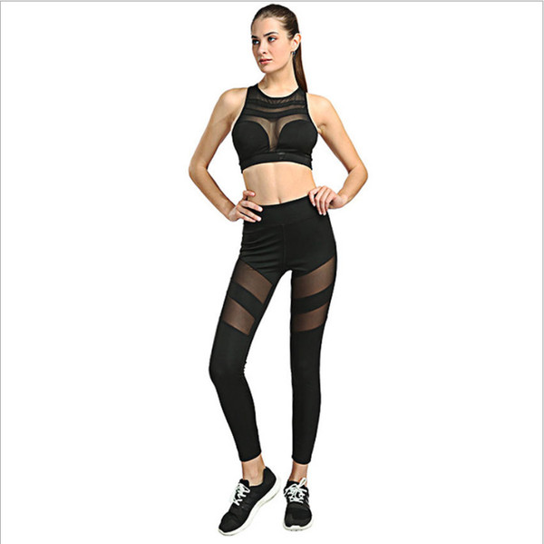 New Arrival Hot-selling Fitness Yoga Leggings Net Yarn Splicing Women's Sports Pants Loose Breathable Slim Workout Pants