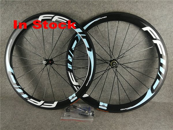 In stock Ffwd light blue Logo 50mm bike road wheels clincher wheelset 700C carbon bike wheelset 50MM