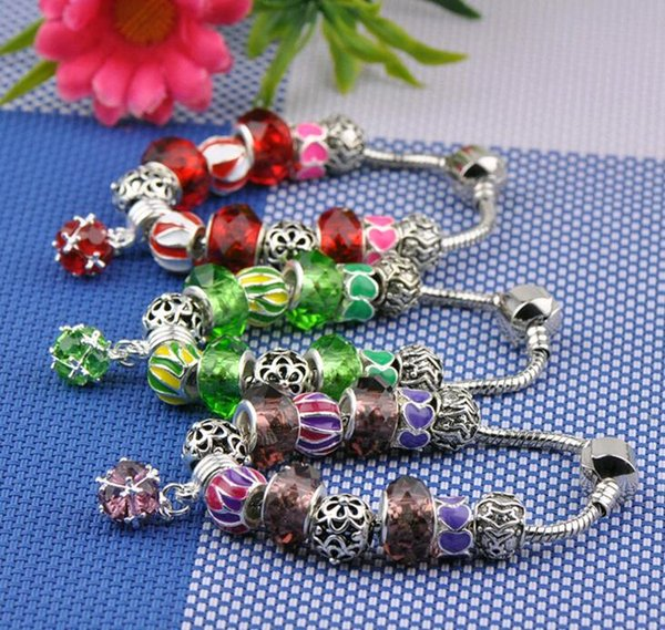2019 Europe Style Designer Jewelry DIY Hand Beads Snake Chain Good Luck Beaded Charm Bracelet Red Green Purple Free Shipping