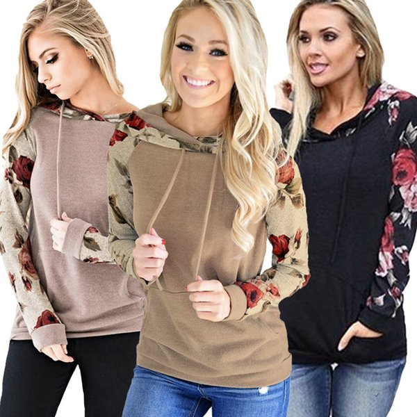 Kadınlar Çiçek Hoodie Uzun Kollu patchwork İpli Rahat Tişörtü Kazak Üstleri Cepler Ekip Boyun kapüşonlu gömlek Giyim ceket LJJA2647