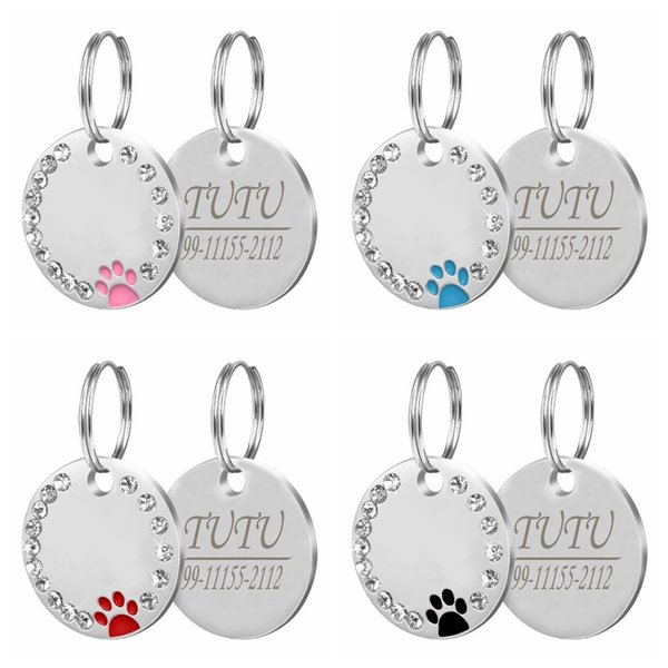Dog ID Tag Engraved Metal Customized Pet Tags Small Large Dog Accessories Personalized Diamond decoration Name Tag for Callor