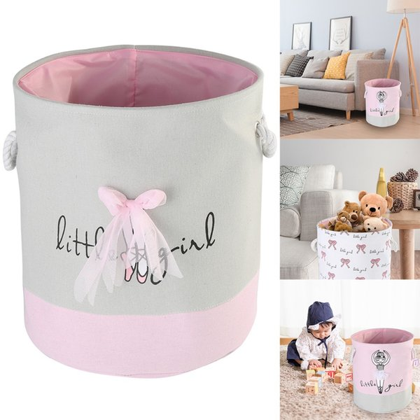 top popular Nosii Dirty Clothes Pink Laundry Buckets Shoes Ballet Girl Bow Print Toys Organizer Household Cotton Storage Bags Basket 2019
