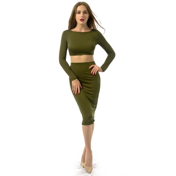 Langärmliges rückenfreies dünnes zweiteiliges Kleid weibliche sexy Verband-feste Kleidung