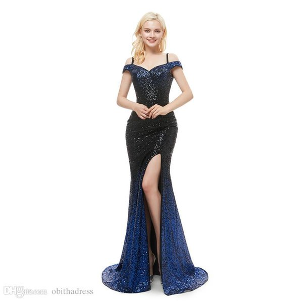 Shiny Prom Dress Sling Style Shoulder Gradient Side Split Sequin Cloth Mopping Evening Dress Party Dress Cheap