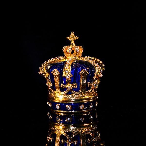 wholesale Metal Craft Beautiful Blue Crown Ring Box