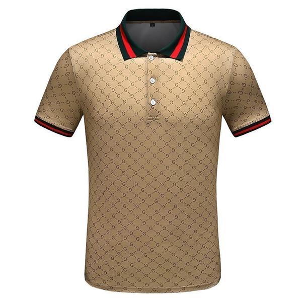 La nueva camiseta de solapa de los hombres llena de letra G imprimiendo una novedad Tela Luz y cuerpo Absorción de sudor