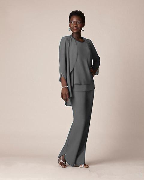 Nova Cinza Chiffon Formal Pant Ternos Para A Mãe Do Noivo Vestidos de Desgaste da Noite Longo Mãe dos Vestidos de Noiva Com Jaquetas Plus Size Custom Made