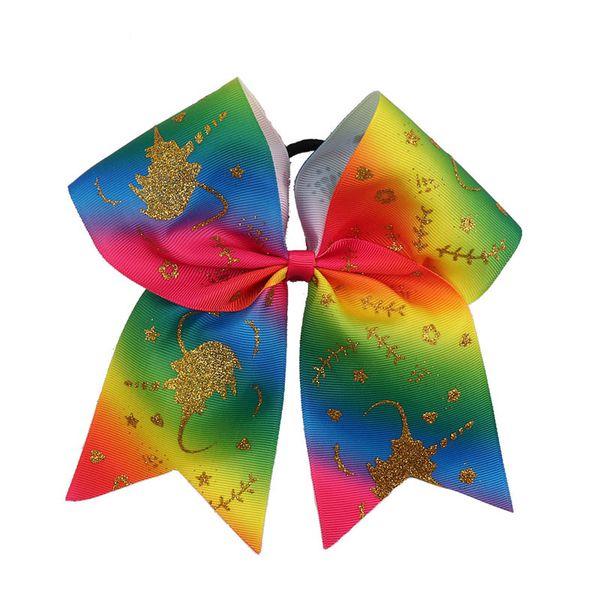 Unicornio jojo Siwa niñas Scrunchies 8 pulgadas arco iris jojo Siwa arcos niños pelo scrunchies Hairbands bebé lazos para el cabello accesorios A9897