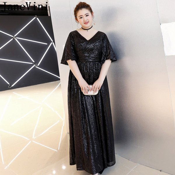 2019 JaneVini Plus Size Womens Evening Gown Dresses Bling Sequined Black  Formal Dress Half Sleeve Party Wear Gala Jurken Dames 2019 From Baiqian, ...