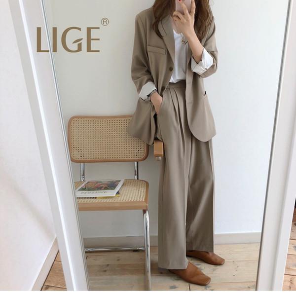 LIGE 2019New Spring Women Grey Plaid Office Lady Blazer Casual + Drapeado Cintura Alta Pierna Ancha Mop Pantalones traje de mujer