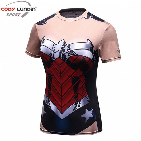Codylundin Wonder Woman Stampa T-shirt Estate traspirante Umidità Sudore Cosplay Girocollo T-Shirt asciugatura rapida Y190123