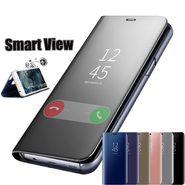 Official Metallic Plating Smart Mirror Window View Flip Cover Case For Xiaomi Mi 9 SE 8 6X A1 Mix Max 3 Redmi Note 7 6 Pro 5 Plus S2 Y2