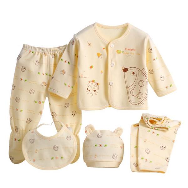Baby Cotton Clothes Set Newborn Boys Girls Soft Underwear Cartoon Shirt and Pants Clothing 0-3 Months Y190515