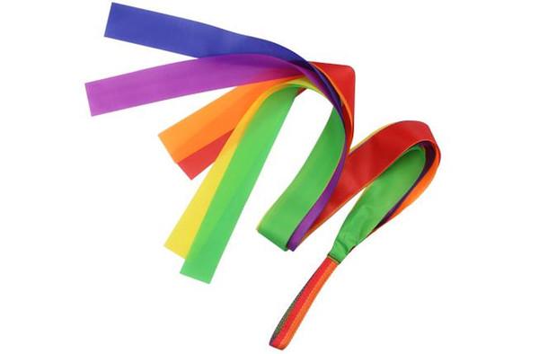 Palestra Dance Ribbon Arte ritmica Ginnastica Streamer Bacchetta Twirling Rod Stick Magic Stage Circus Ballett Rainbow Ribbon Giocattoli sportivi 100cm 39.4 ''