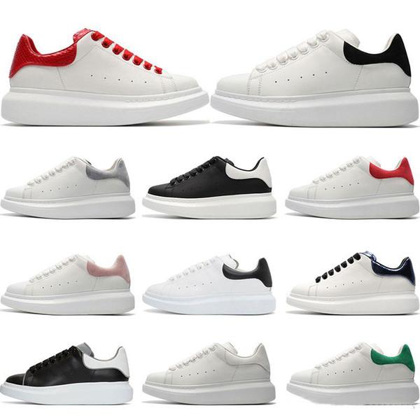 2019 Nuevo Triple Blanco Negro Reflejo Golden Heel Casual Shoes Moda para mujer Diseñador de lujo Zapatillas de deporte para hombre mocasines de cuero 36-44