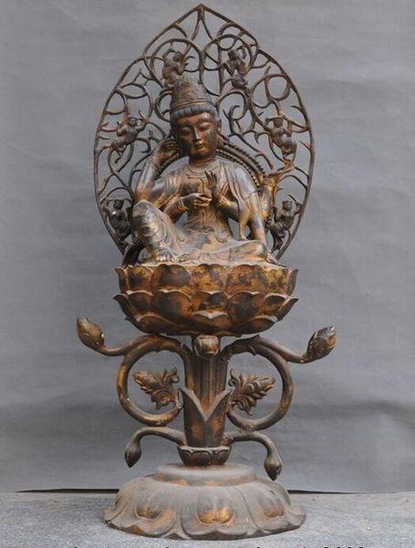 Huge Old Tibet Temple Bronze gilt 6 Arms Chenrezig Guanyin Goddess Buddha Statue