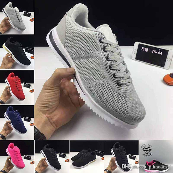 Promotion cheap 2018 Classic shoes 5.0 Cortez Basic Leather Casual Shoes Zoom Fly S Men Women Black White Red Golden Sneakers Size 36-45