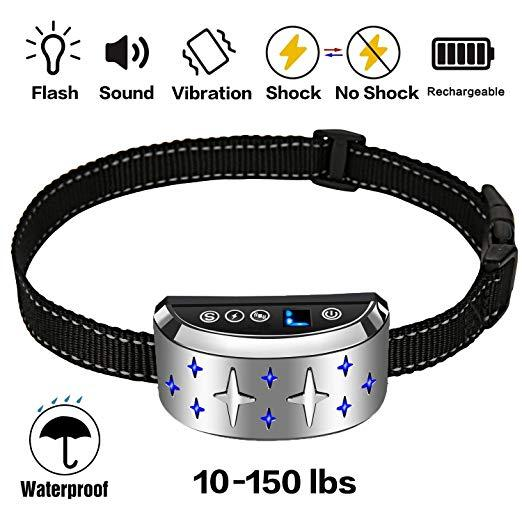 FALIY Anti Bark Collar, dog training collar, dog strap vibration, rechargeable and waterproof, suitable for small and medium dogs