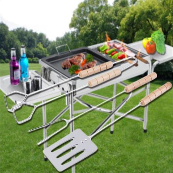 3 pièces barbecue barbecue accessoires en acier inoxydable pince à barbecue barbecue fourche