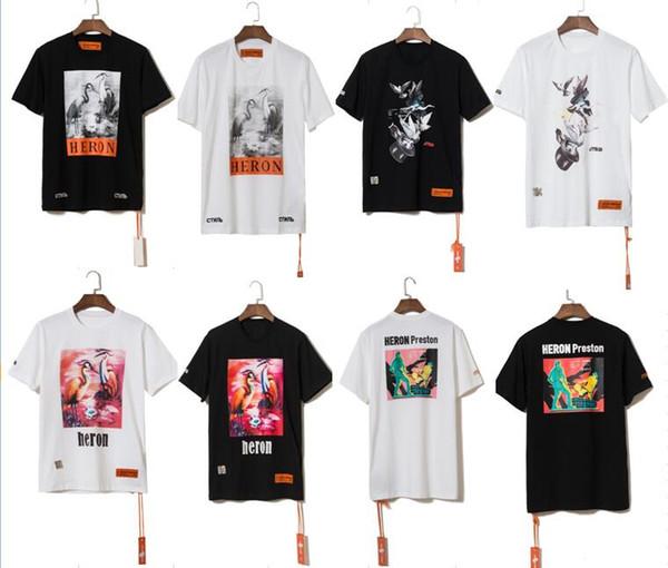 2019ss Sommer Stil Reiher Preston Tauben Gedruckt Frauen Männer T shirts T-shirts Hiphop Streetwear Männer Baumwolle Kurzarm T-shirt S-XL