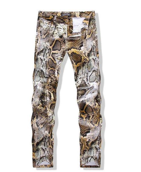 Jeans de mode imprimé de peau de serpent Hip Hop Jeans Coloré Dessin Slim Fit Skinny Night Club Pants