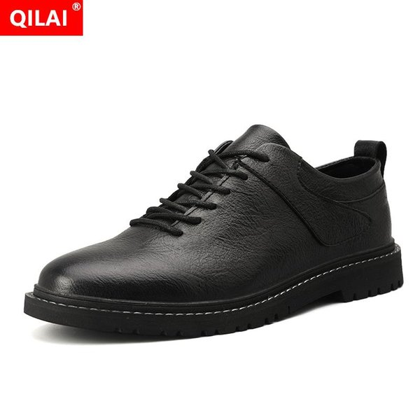 2019 new lace-up men's shoes Korean version of the solid color men's  shoes tricolor driving work